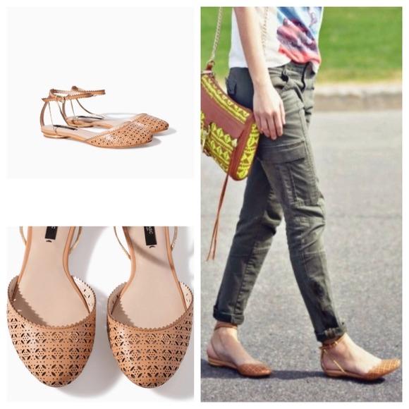 Zara Shoes | Price Drop Tan Ankle Strap Flats | Poshmark
