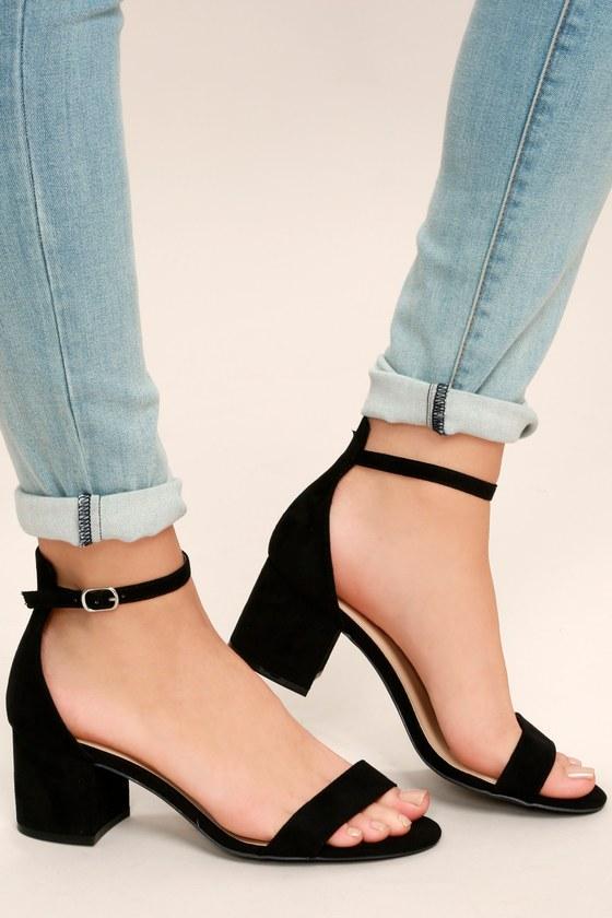 Chic Black Sandals - Single Sole Heels - Block Heel Sandals