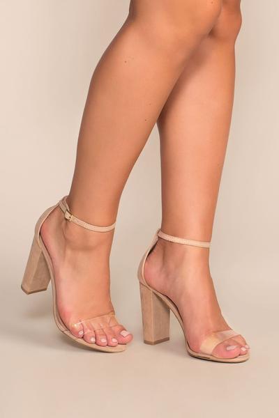 Cynthia Nude Vegan Suede Ankle Strap Heels - Nude   Legend Footwear