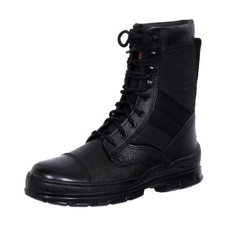 Men Black Leather Combat Army Boots For Indian Military, Rs 690