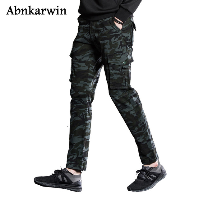 Abnkarwin Military Cargo Pant Men Army Camouflage Cotton Men's Pants