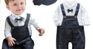 Newborn Baby Boy Romper Plaid Tie Strap Baby Clothing Spring Autumn