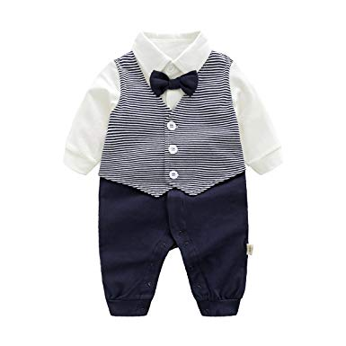 Amazon.com: Newborn Baby Boys Gentleman Romper with Tuxedo Bow Tie