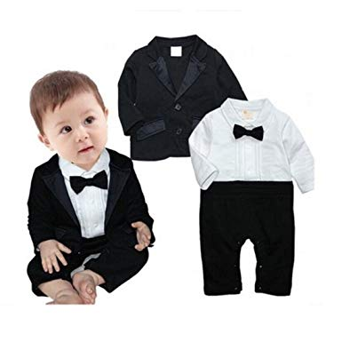Amazon.com: Newborn Baby Boy Romper Rompers Tuxedo All-in-one Suit