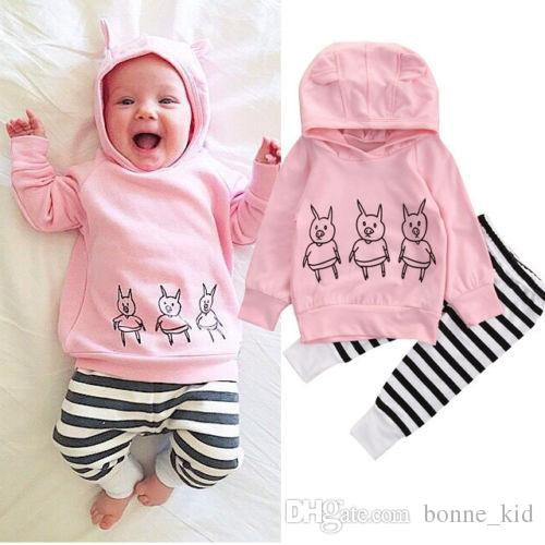 Newborn Baby Girls Outfits Animals Pig Hoodie Top +Pants Leggings
