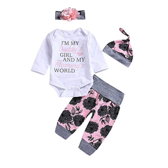 Amazon.com: Baby Girl Clothes Daddy's Girl Mommy's World Long Sleeve
