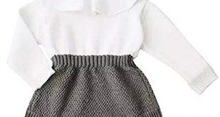 Amazon.com: Baby Girls Sweet Knitted Fleece Romper Long Sleeve