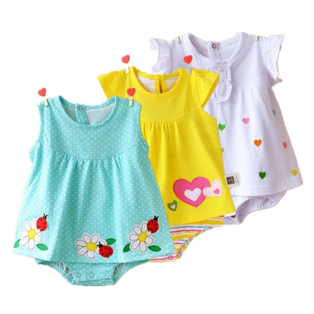 Baby Girl Rompers Summer 100% Cotton Infant Jumpsuits Roupas Bebes
