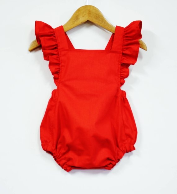 Red Retro Baby Girl Romper Ruffle Romper Baby Outfit Girl   Etsy