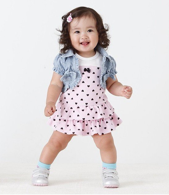 Free shipping New Arrival Baby girl summer clothing set(vest+dress