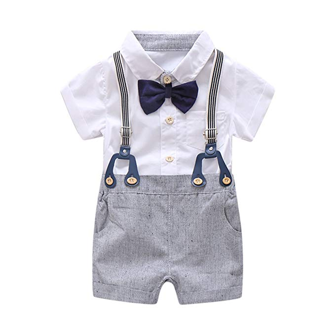 Amazon.com: Baby Boys Gentleman Outfits Suits, Infant Short Sleeve