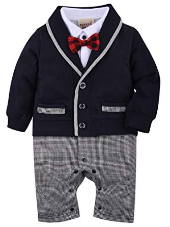 Amazon.com: ZOEREA 1pc Baby Boys Tuxedo Gentleman Onesie Romper
