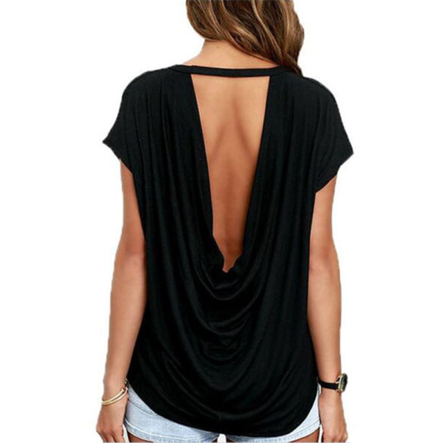 Women Summer Open Back Short Sleeve T Shirt Casual Backless Tops
