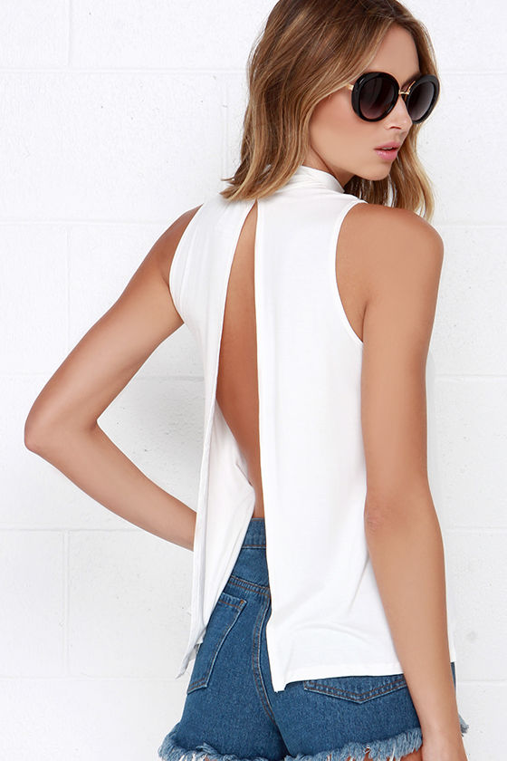 Chic Ivory Top - Backless Top - Mock Neck Top - $28.00