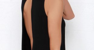 Chic Black Top - Backless Top - Mock Neck Top - $28.00