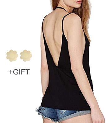 Amazon.com: Backless Tank Tops for Women Strap Tank Top Sexy