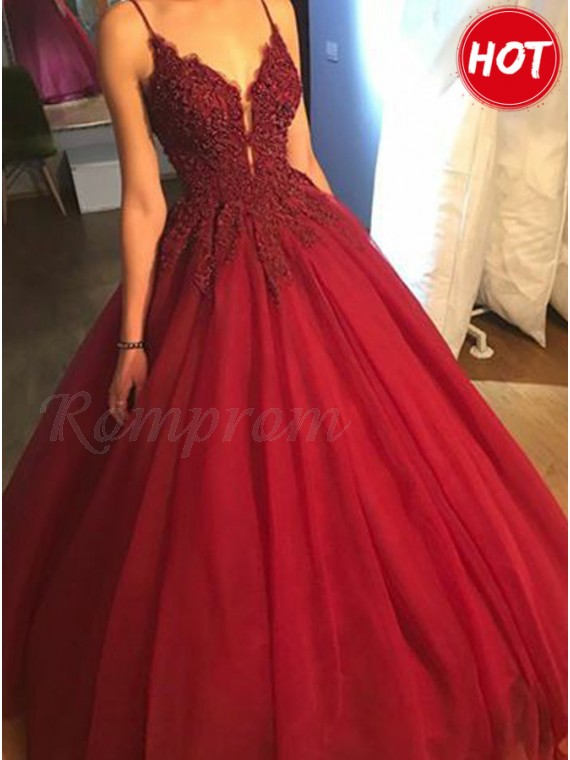 Ball Gown Spaghetti Straps Long Burgundy Prom Dress with Appliques
