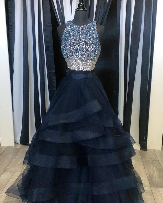 Two Pieces Ball Gown Prom Dress, Handmade | Cocopromdress