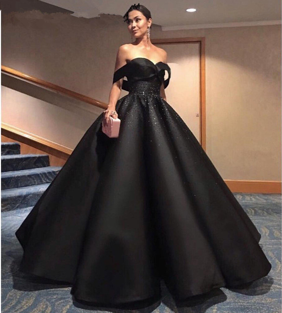 Black Off Shoulder Satin Beaded Ball Gown Dresses, Elegant Prom
