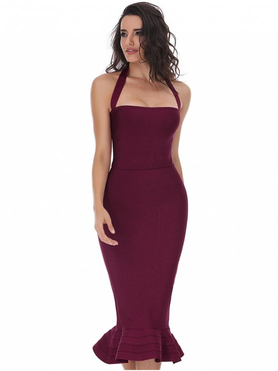 41% OFF] 2019 Halter Fitted Bandage PromDress In DEEP RED S | ZAFUL