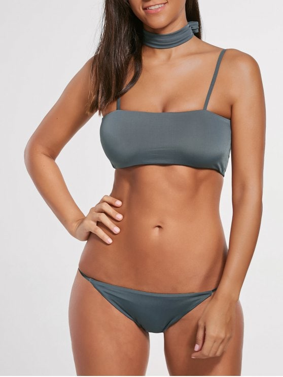 17% OFF] 2019 Padded Multiway Bandeau Bikini Set In SMOKY GRAY S | ZAFUL
