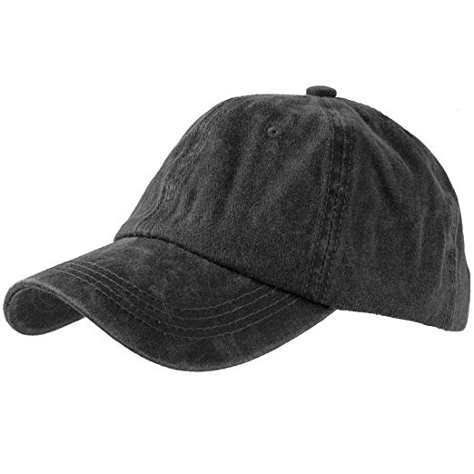 Amazon.com: Washed Cotton Baseball Cap (One Size, Black): Clothing