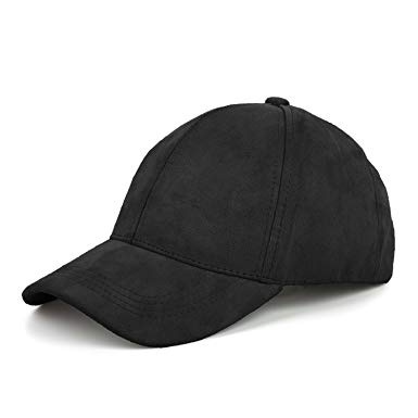 JOOWEN 6 Panel Faux Suede Baseball Cap Classic Adjustable Soft Plain