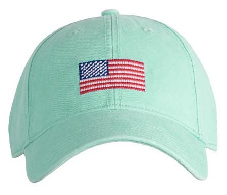 American Flag on Keys Green Needlepoint Hat u2013 Harding-Lane