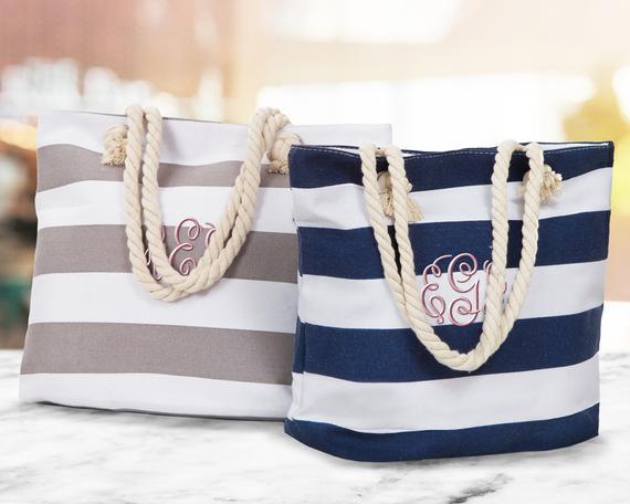 SALE Monogrammed Beach Tote Bag Bridal Gift Totes | Etsy