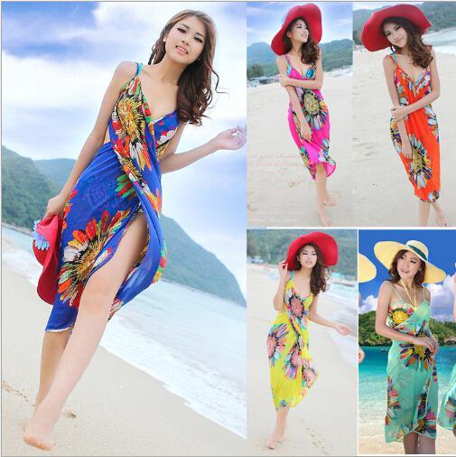 Fashion Women Backless Dresses Bohemia Chiffon Flower Beach Dress