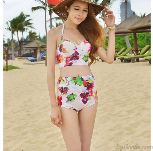 Conservative Flower Print High-waist Bikini Sexy Women Beachwear