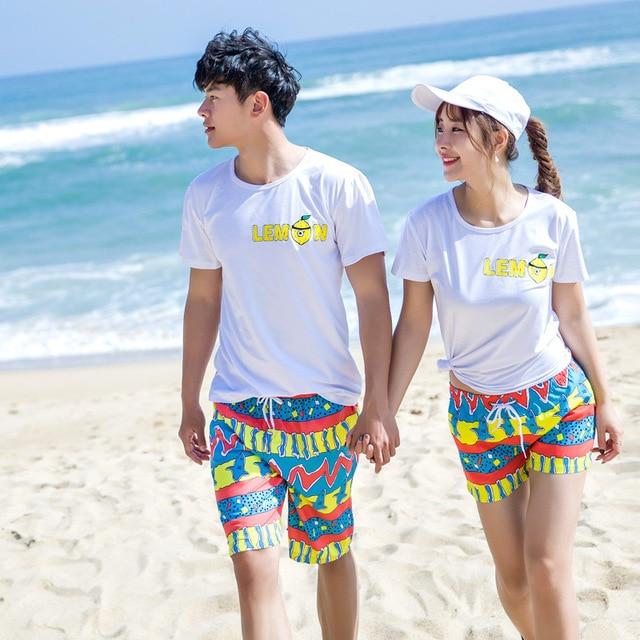 Lovers Honeymoon Beachwear Men and Women Cotton Round Neck Short