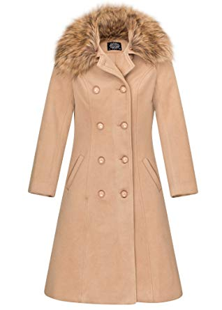 Glam and Gloria Womens Beige Vintage Look Winter Coat Jacket With