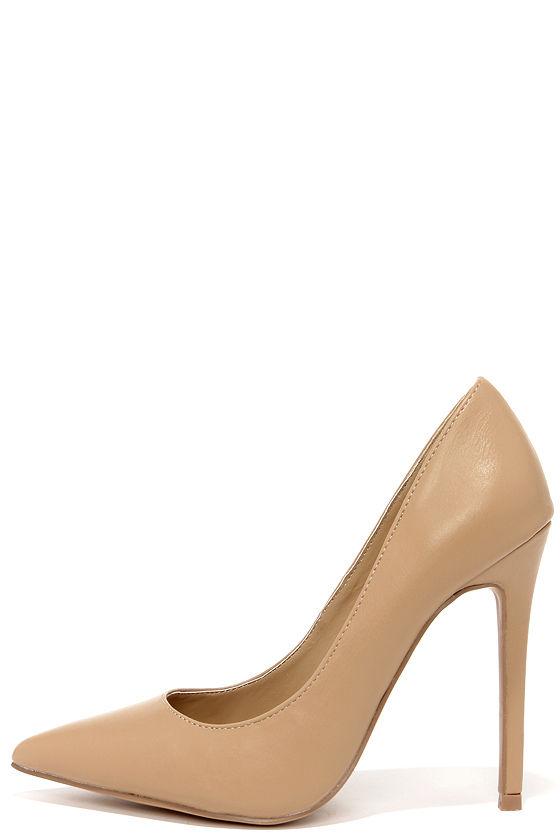Pretty Beige Pumps - Pointed Pumps - Beige Heels - $34.00
