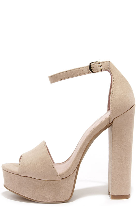 Cute Beige Heels - Platform Heels - Platform Pumps - $69.00