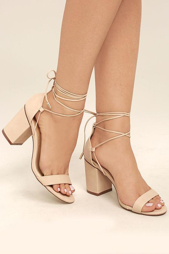 Beige Heels - Lace-Up Heels - Vegan Leather Heels - $38.00