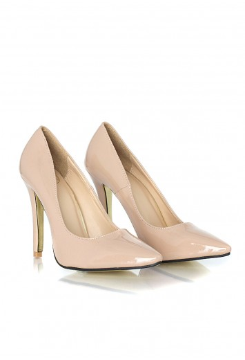 Tonita Leather Court Heels In Beige - Heels - Shoes - Missguided