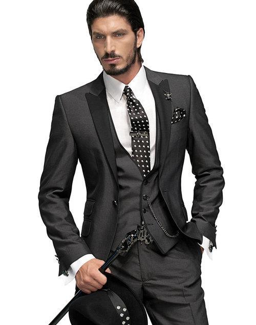 2017 Bridegroom Tuxedo Light Gray Bespoke Suit For Men Wedding Groom