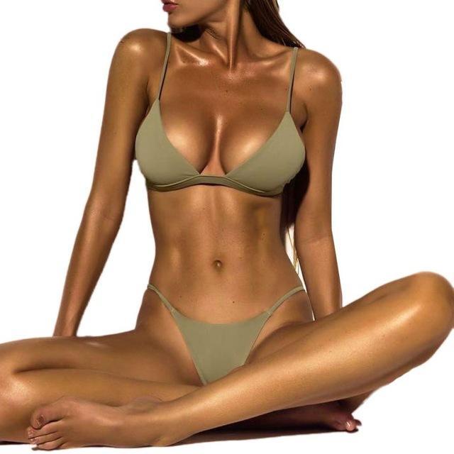2018 Hot Fashion Bikini Swimwear u2013 Sexy Top and Thong - Green