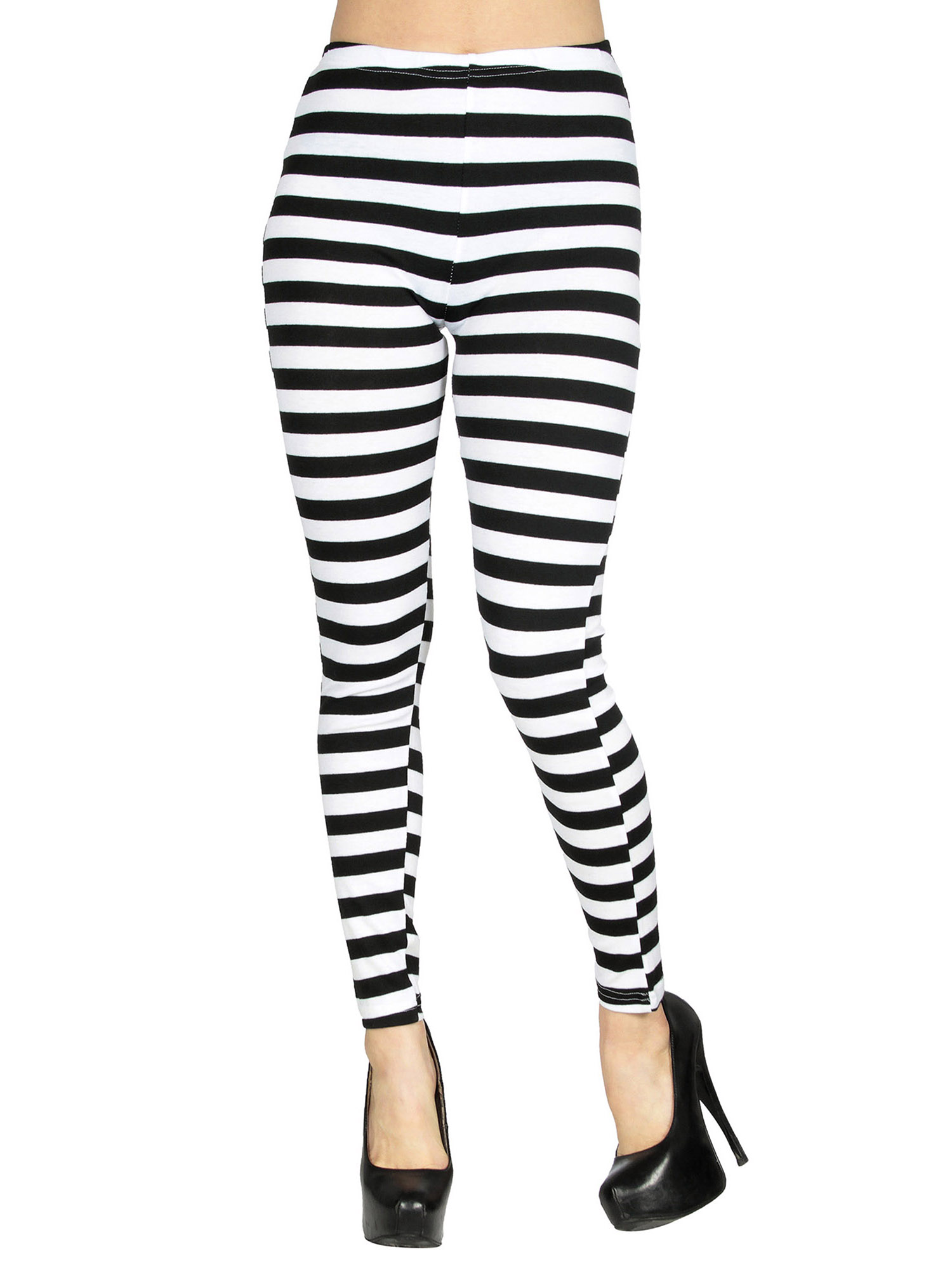 BASILICA - Women's Soft Black White Horizontal Striped Leggings w