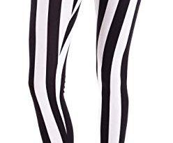 White Black Ladies Vertical Striped Leggings, USA Made at Amazon
