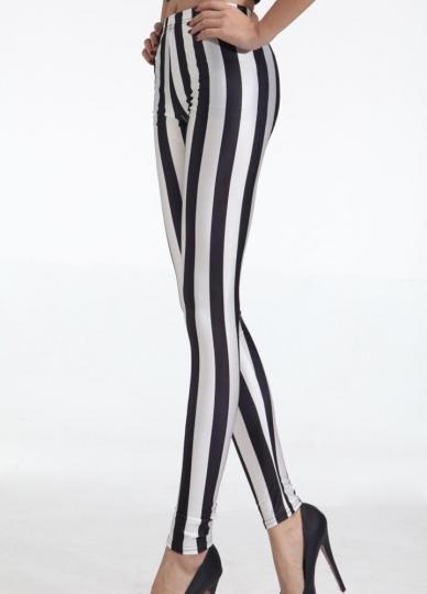 Women's Black And White Vertical Striped Zebra Leggings