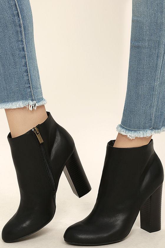 Cute Black Booties - High Heel Booties - Ankle Booties - $37.00
