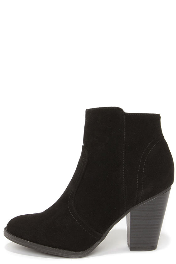 Cute Black Boots - Suede Boots - Ankle Boots - Booties - $34.00