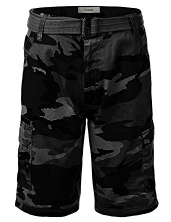 IDARBI Men's Belted Ripstop Camo Cargo Shorts Black 34 Small