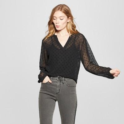 Women's Polka Dot Chiffon Long Sleeve Blouse - A New Day™ Black : Target