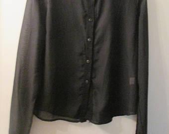 Black chiffon blouse | Etsy