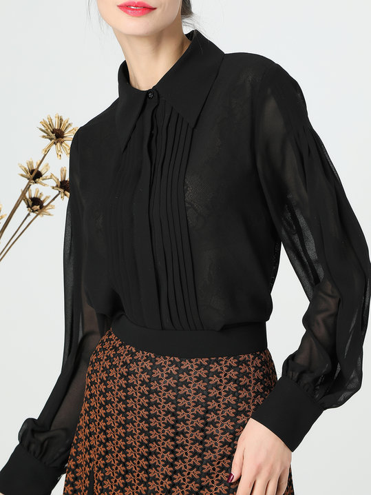 Daily Black Work Folds Chiffon Blouse - StyleWe.com