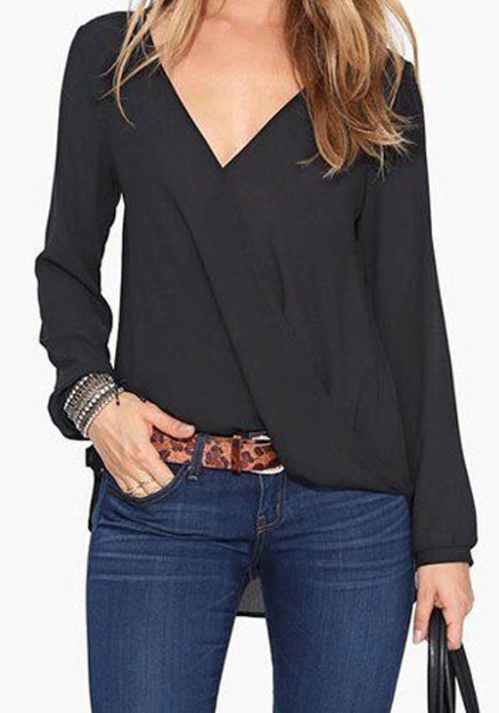 Black Plain V-neck Casual Chiffon Blouse - Blouses - Tops