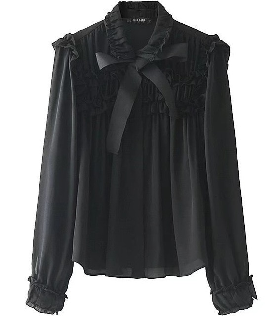 Women Oversized Bow Tie Collar Long Sleeve Black Chiffon Shirt And